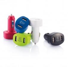 Dobbelt USB-oplader til bilen med logo / tryk